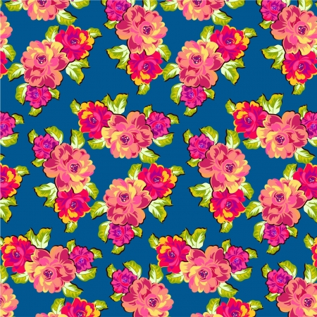 Seamless floral pattern  Summery roses