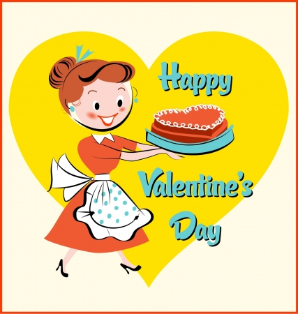 Mid-Century Modern  Valentine s Day Cake Illustration