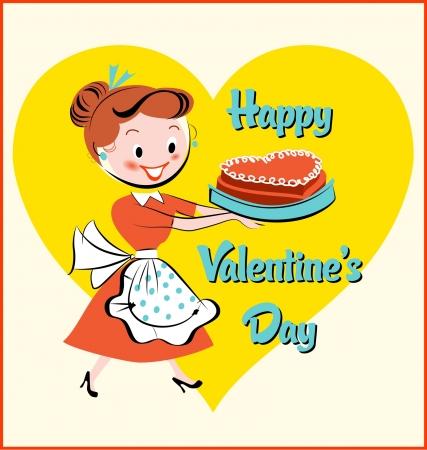 Mid-Century Modern  Valentine s Day Cake Иллюстрация