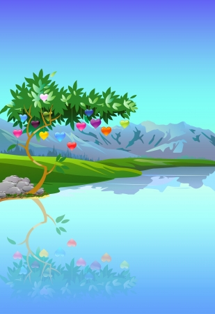 Illustratie van de boom lager hartvormige valentijn gekleurde vruchten