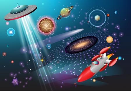 우주선과 우주 공간의 많은 요소,
