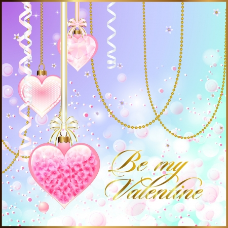 Glossy Valentine Decorations with Bokeh Stock Vector - 21945548