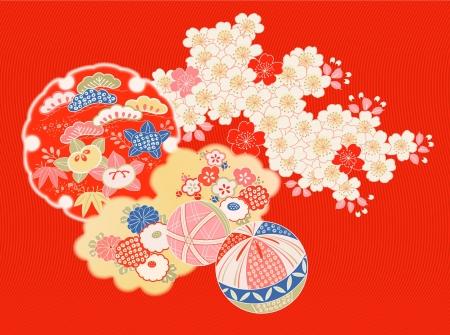 style: Weinlese-japanische Kimono Motive