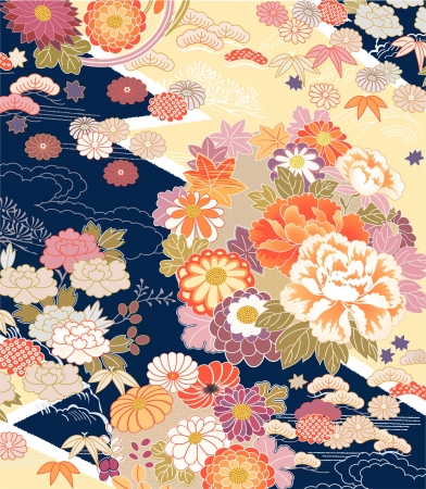 japan culture: Montage of traditional Kimono motifs