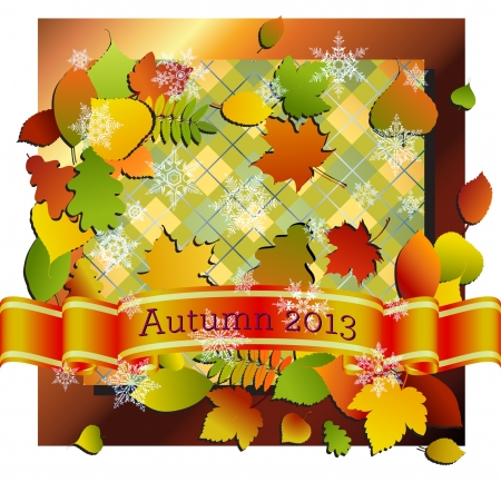 Banner, bladeren en een plaid met een herfst thema