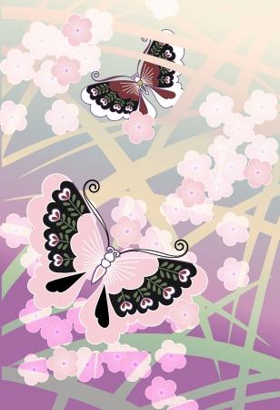 Vlinders en bloeit in de Japanse stijl Stock Illustratie