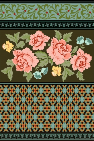 a group of Victorian era floral and geometric designs Illustration