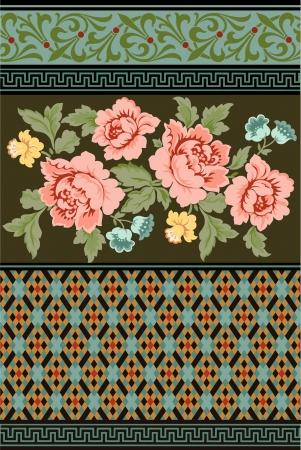 een groep van Victoriaanse tijdperk bloemen en geometrische ontwerpen