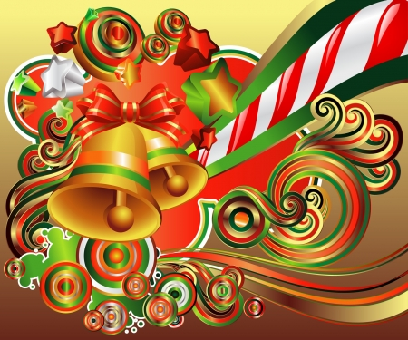 red, green, and gold  curls, swirls, bells, and bows, Happy Holidays