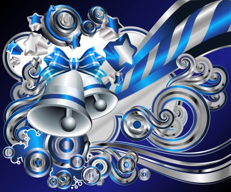 silver and blue  curls, swirls, bells, and bows, Happy Holidays