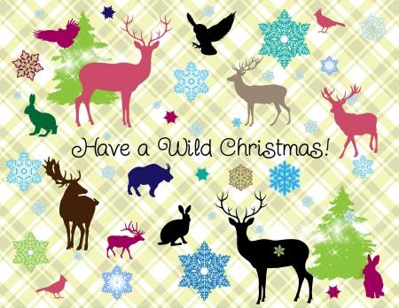 Heb een Wild kerst wilde dieren silhouetten en sneeuwvlokken