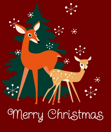 Kerst illustratie met twee herten, een dennenboom en sneeuwvlokken Stock Illustratie