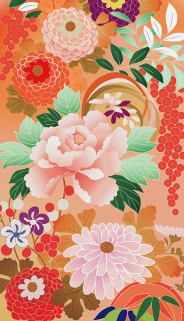 prints: Illustration of vintage kimono