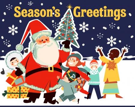 Kerstman en kinderen uit de hele wereld