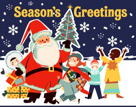 Santa and Children from Around the World Vector