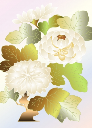 Three White Chrysanthemums Illustration