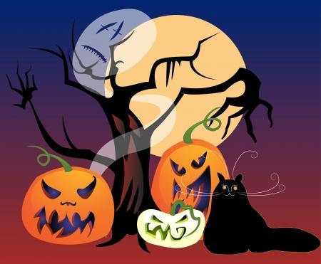 Halloween mix achtervolgd boom, jack-o-lantaarns, een zwarte kat, een spook, en een volle maan voor een spookachtig All Hallows Eve