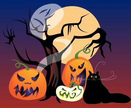 Halloween mix  haunted tree, jack-o-lanterns, a black cat, a ghost, and a full moon for a spooky All Hallows Eve
