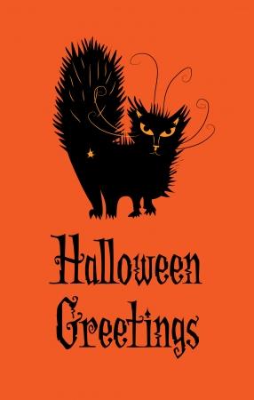 Groeten van Halloween van een zwarte kat met een houding