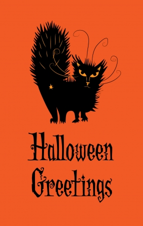 Halloween Greetings from a black cat with an attitude  Illustration
