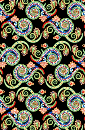 a complex background wallpaper design using colorful spirals with paisley elements
