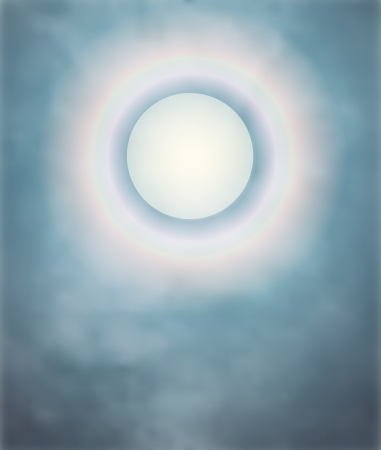 Rainbow around the moon on a misty night; a vector mist layer created with a gradient mesh Illustration