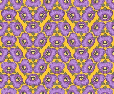 naadloze behang ontwerpen paarse orchideeën tegen een gele achtergrond