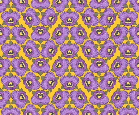 seamless wallpaper design of purple orchids against a yellow background