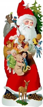 Kerstman beladen met cadeaus voor kinderen Stock Illustratie