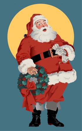 Illustratie van traditionele Amerikaanse kerstman figuur, circa 1910