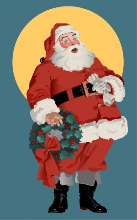 Illustration of traditional American Santa Claus figure, circa 1910 illustration