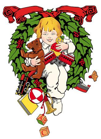 Kind met kerstcadeaus; hulst krans op de achtergrond Stock Illustratie