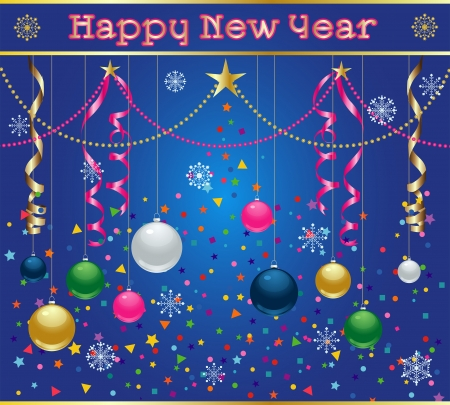 New Years Celebration image with holiday ornaments, streamers, snowflakes, and confetti
