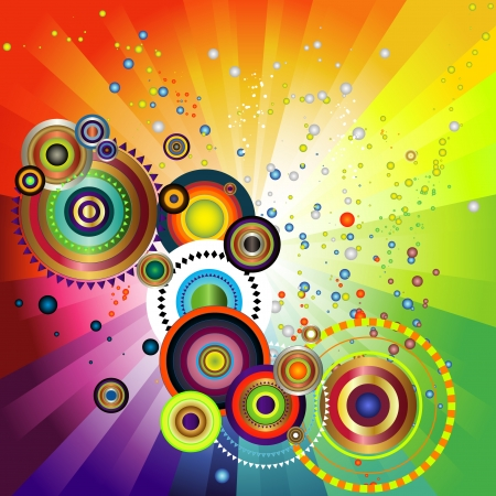rainbow gradient background with series of concentric circles emerging