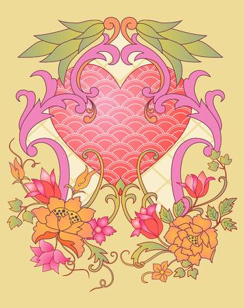 Borduurwerk elementen uit de Japanse kimono met een hart symbool toegevoegd Stock Illustratie