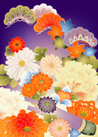 Assemblage van elementen uit de Japanse kimono