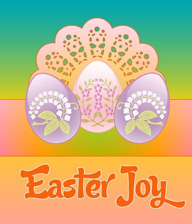 drie pastel versierde bloemen eieren op een kanten achtergrond Stock Illustratie