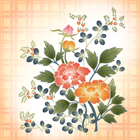 japanese garden: embroidered Japanese style floral bouquet on plaid fabric background