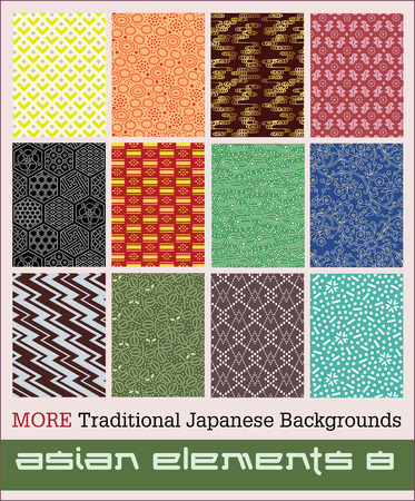 Twelve more traditional Japanese backgrounds  Number eight in a series of Asian elements Çizim
