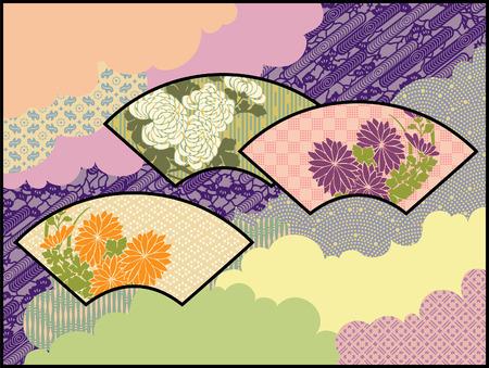 Fans in de Wolken Een origineel ontwerp met behulp van traditionele Japanse patronen en motieven Stock Illustratie