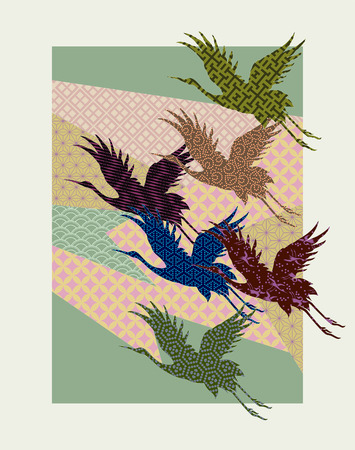 crane silhouettes filled with traditional Japanese patterns