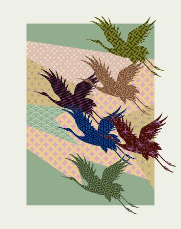 kraansilhouetten gevuld met traditionele Japanse patronen