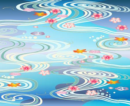 Prachtig zwembad met bloesems en bladeren drijvend op het oppervlak Stock Illustratie