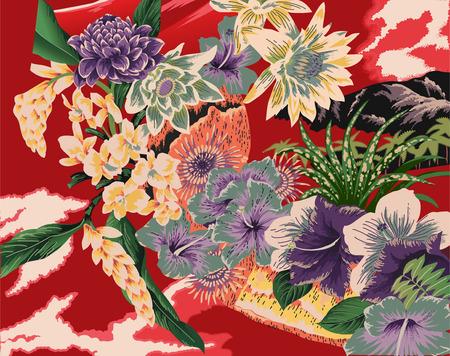 unique vintage Hawaiian kimono style print Vector
