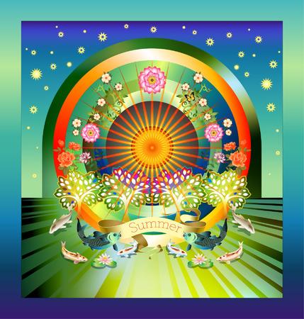 Thematische beeld die kleuren en symbolen van het seizoen van de zomer