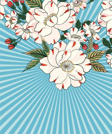 Bloemen ontwerp - bloemen in volle bloei, evenals knoppen en bladeren, geplaatst tegen een blauwe zonnestraal element Stock Illustratie