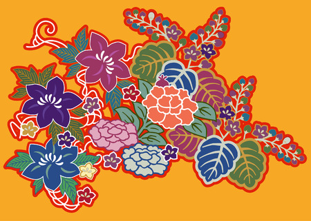 Montage of Japanese embroidery floral motifs Stock Illustratie