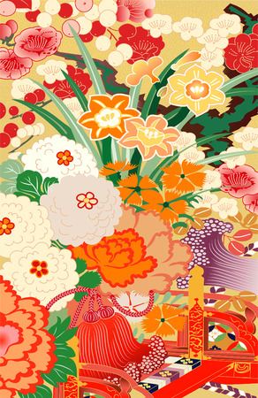 orange blossom: floral kimono Illustration