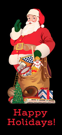 holiday celebrations: Santa Claus with his bag of gifts