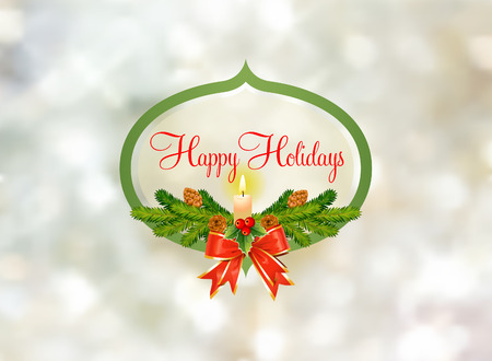 Holiday Greeting Cartouche against snowy background